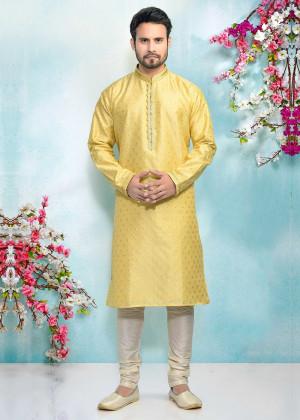 Yellow Readymade Embroidered Kurta Pajama