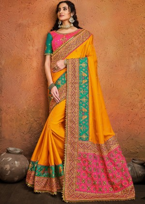 Yellow Satin Silk Bridal Saree With Blouse