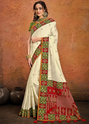 Cream Satin Silk Bridal Saree With Blouse