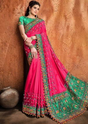 Pink Satin Silk Bridal Saree With Blouse