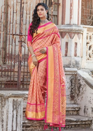 Peach Silk Woven Saree With Blouse
