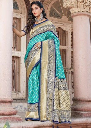 Sky Blue Silk Woven Saree With Blouse