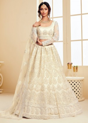 Off White Net Embroidered Lehenga Choli