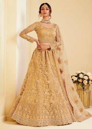 Golden Net Embroidered Lehenga Choli