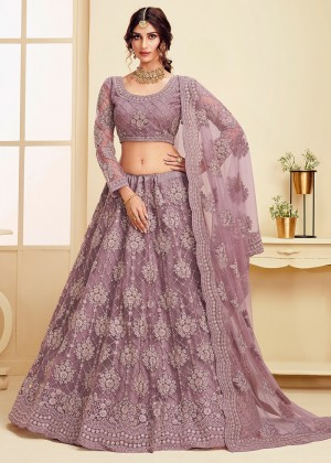 Purple Net Embroidered Lehenga Choli