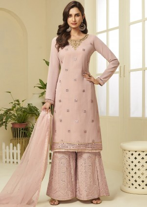 Pink Georgette Embroidred Sharara Suit