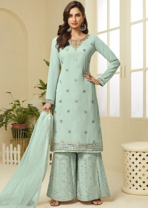Sea Green Georgette Embroidred Sharara Suit