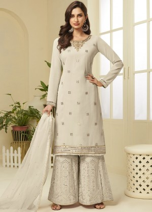 Off White Georgette Embroidred Sharara Suit