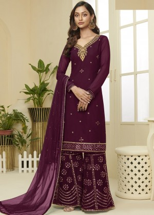 Magenta Georgette Embroidred Sharara Suit