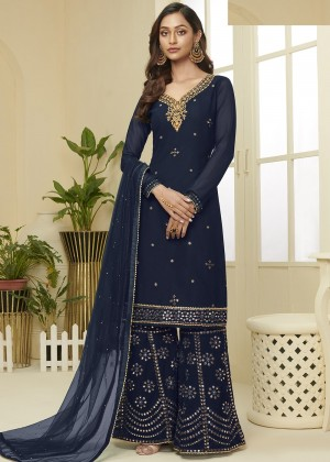 Navy Blue Georgette Embroidred Sharara Suit