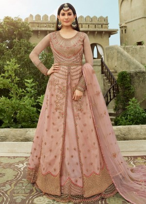 Light Pink Embroidered Net Kurti Style Lehenga
