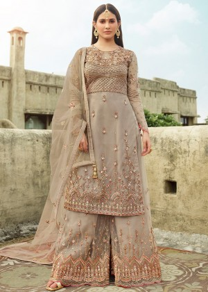 Grey Embroidered Pakistani Sharara Suit