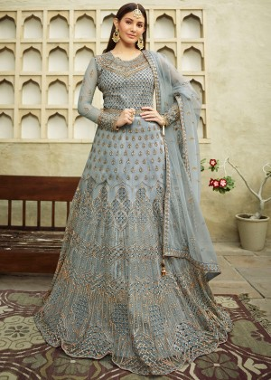 Grey Net Embroidered Anarkali Salwar Suit