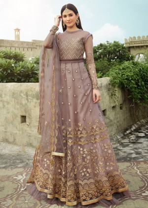 Purple Net Embroidered Anarkali Salwar Suit