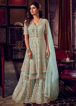 Sea Blue Net Embroidered Sharara Suit