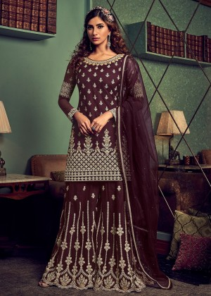 Maroon Net Embroidered Sharara Suit
