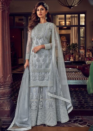 Grey Net Embroidered Sharara Salwar Suit