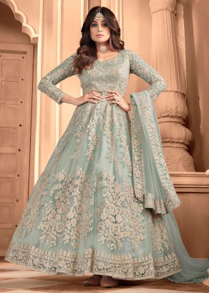 Sea Green Net Embroidered Anarkali Suit