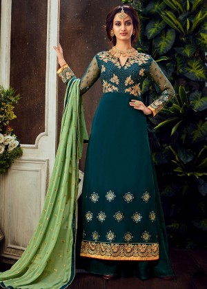 Teal Blue Embroidered Palazzo Suit