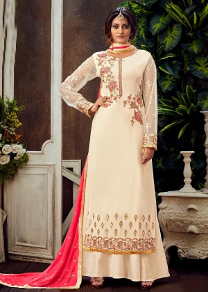 Cream Embroidered Palazzo Salwar Suit