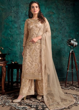 Beige Embroidered Palazzo Salwar Suit
