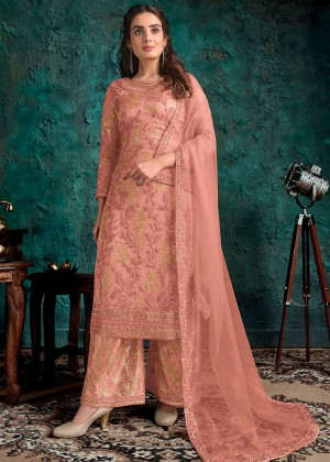 Peach Embroidered Palazzo Salwar Suit