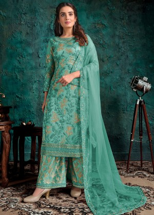 Green Embroidered Palazzo Salwar Suit
