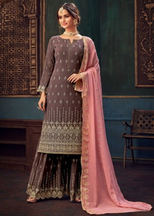 Mauve Embroidered Georgette Sharara Suit
