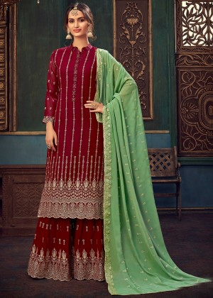 Maroon Embroidered Georgette Sharara Suit
