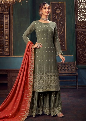 Grey Embroidered Georgette Sharara Suit