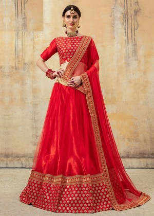 Red Art Silk Embroidered Bridal Lehenga Choli