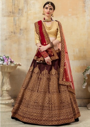 Maroon Art Silk Embroidered Bridal Lehenga Choli