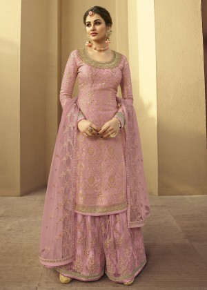 Pink Jacquard Embroidered Sharara Suit