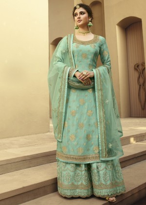 Sea Green Embroidered Sharara Suit