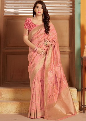 Peach Floral Woven Silk Saree With Blouse