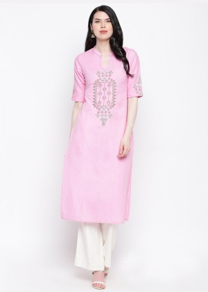 Light Pink Readymade Cotton Kurti