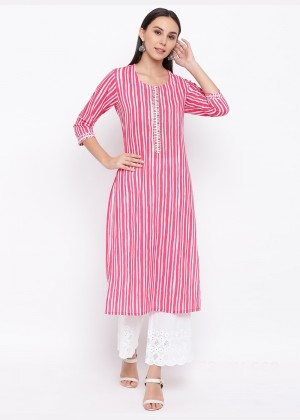 Pink Readymade Cotton Printed Kurti