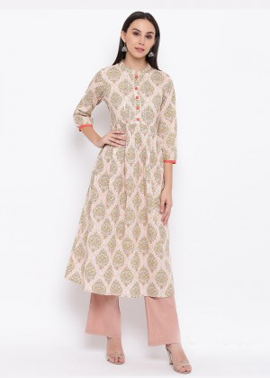 Light Pink Readymade Cotton Printed Kurti