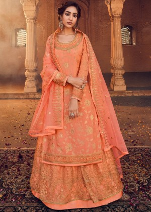 Peach Net Embroidered Kurti Style Lehenga