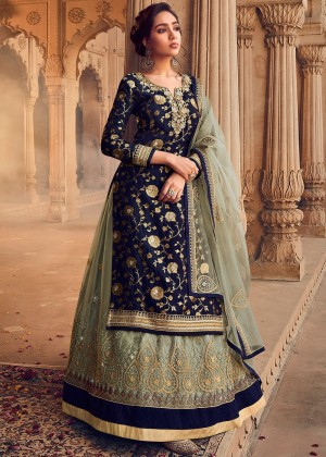 Navy Blue Net Embroidered Kurti Style Lehenga