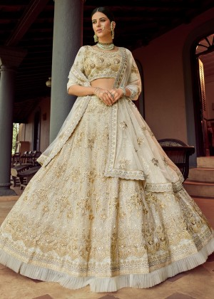 Off White Embroidered Lehenga Choli With Dupatta