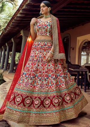 Off White Embroidered Wedding Lehenga Choli