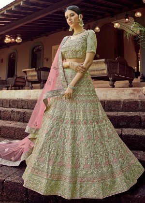 Olive Embroidered Wedding Lehenga Choli