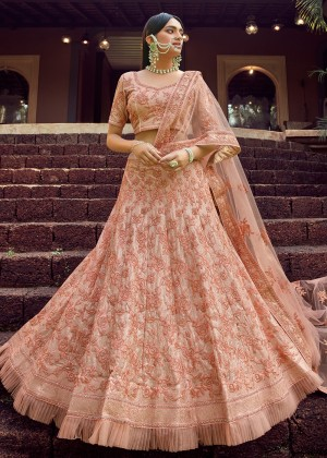 Peach Embroidered Lehenga Choli With Dupatta