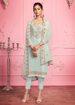 Sea Green Embroidered Pant Salwar Suit