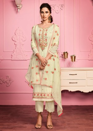 Yellow Georgette Embroidered Pant Suit