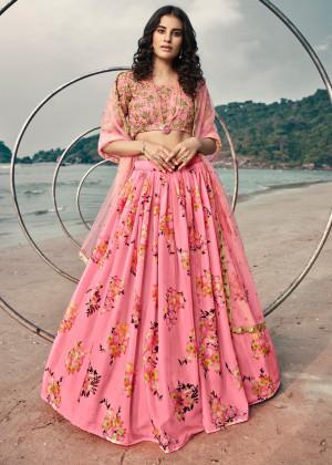 Pink Floral Printed Lehenga Choli