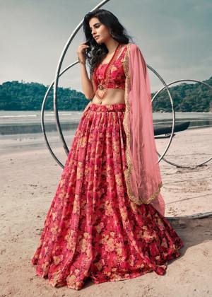 Red Floral Printed Lehenga Choli