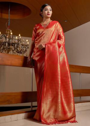 Red Woven Kanjivaram Silk Saree