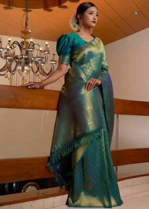 Teal Green Woven Kanjivaram Silk Saree